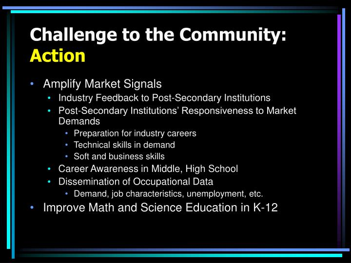 Challenge to the Community: