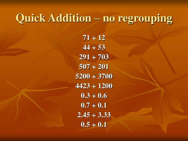Quick addition no regrouping1
