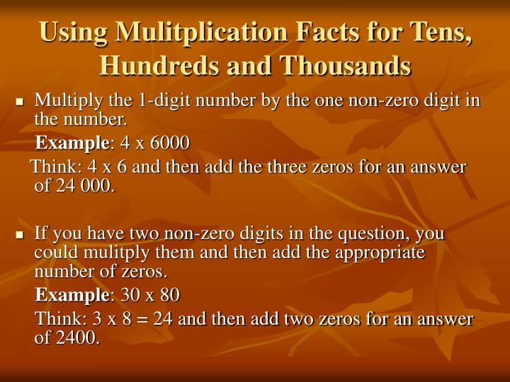 Using Mulitplication Facts for Tens, Hundreds and Thousands