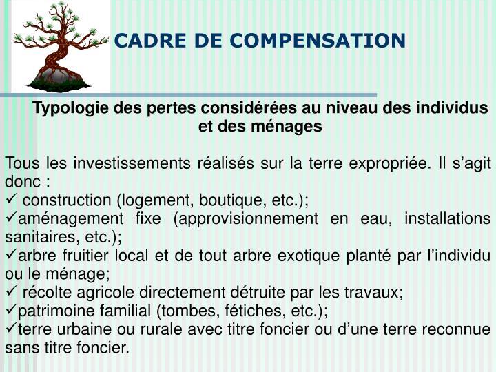 CADRE DE COMPENSATION