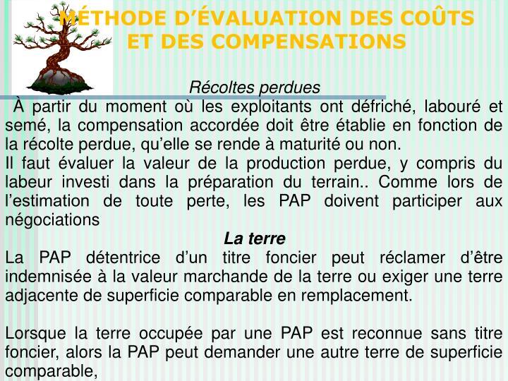 MÉTHODE D'ÉVALUATION DES COÛTS ET DES COMPENSATIONS
