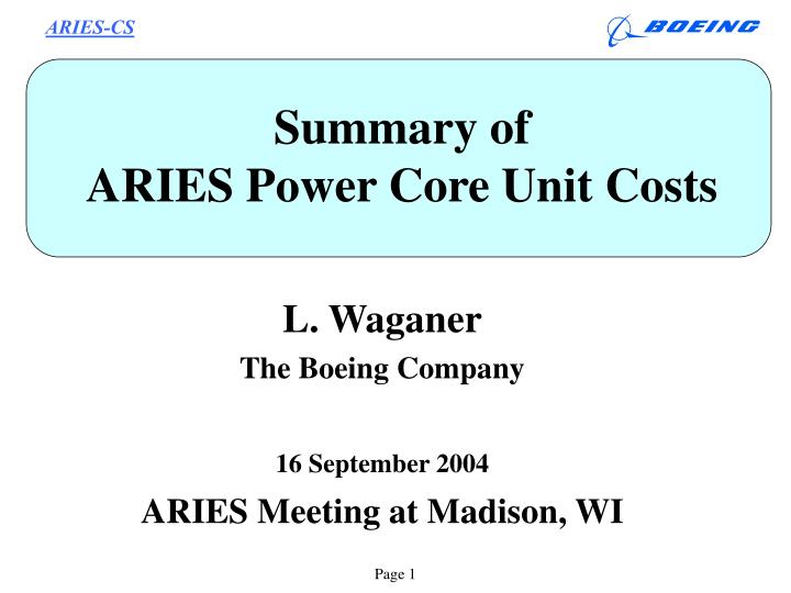 summary of aries power core unit costs n.