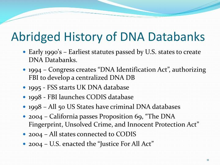 Abridged History of DNA Databanks