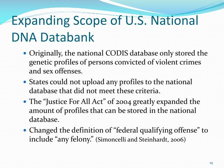 Expanding Scope of U.S. National DNA Databank