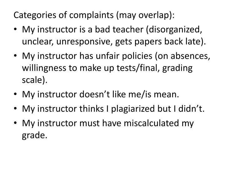 Categories of complaints (may overlap):