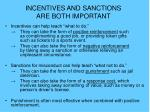 incentives and sanctions are both important