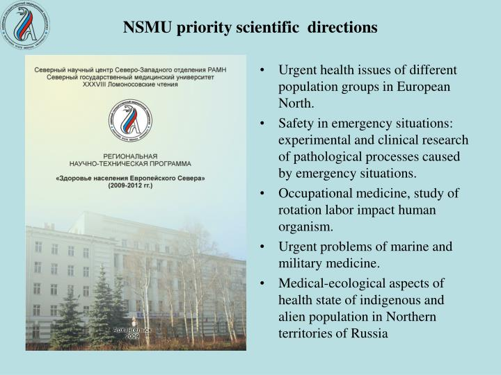 NSMU priority scientific  directions