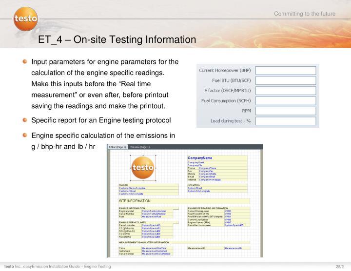 ET_4 – On-site Testing Information