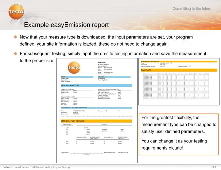 Example easyEmission report