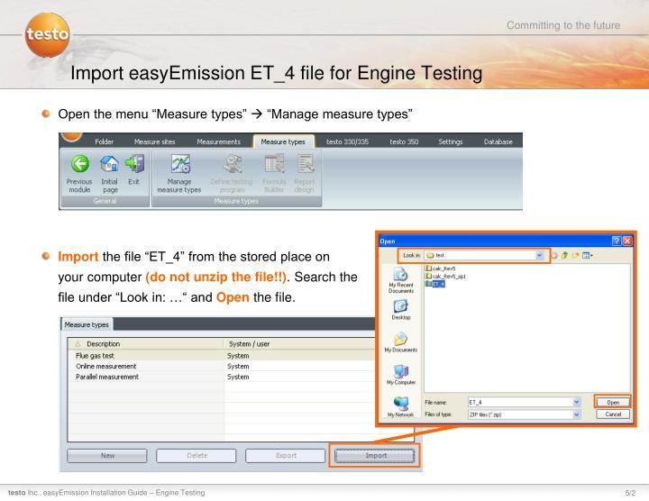 Import easyEmission ET_4 file for Engine Testing