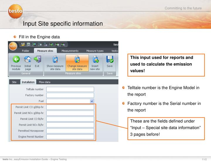 Input Site specific information