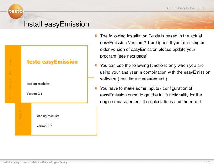 Install easyemission