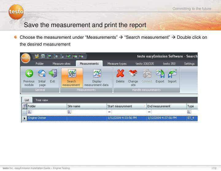 Save the measurement and print the report