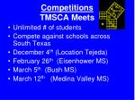 competitions tmsca meets