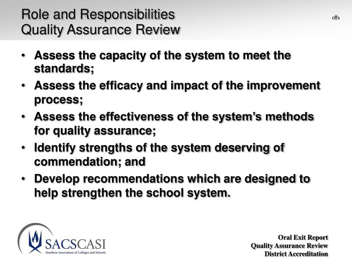 Role and responsibilities quality assurance review