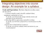 integrating objectives into course design an example for a syllabus