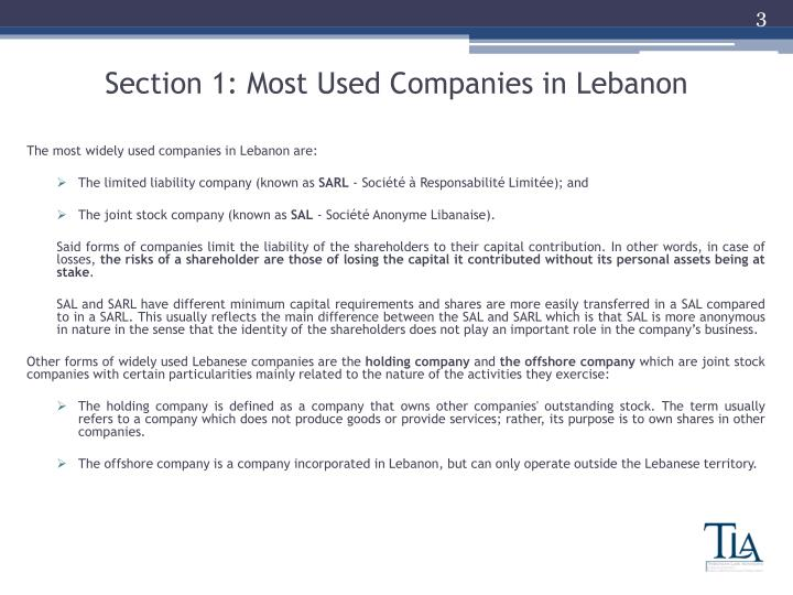 Section 1 most used companies in lebanon