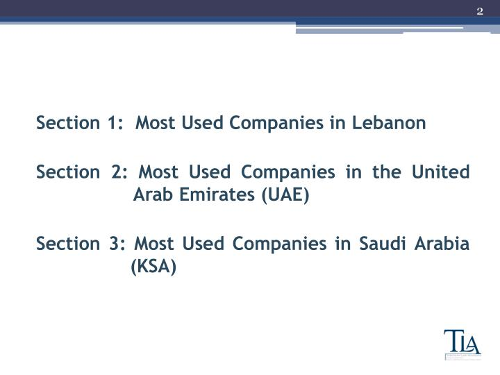 Section 1:  Most Used Companies in Lebanon