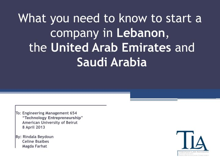 What you need to know to start a company in lebanon the united arab emirates and saudi arabia