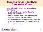 counseling return to fertility for breastfeeding women