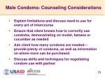 male condoms counseling considerations