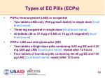 types of ec pills ecps