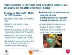 participation in artistic and creative activities impacts on health and well being
