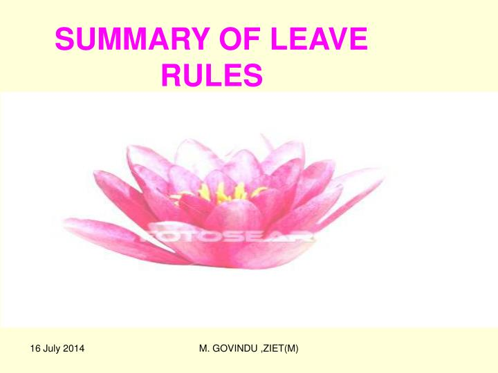 summary of leave rules n.