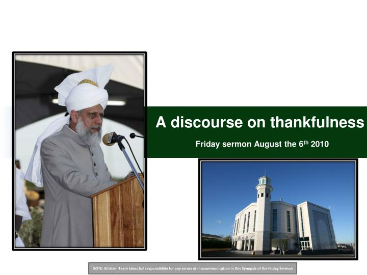 a discourse on thankfulness friday sermon august the 6 th 2010 n.