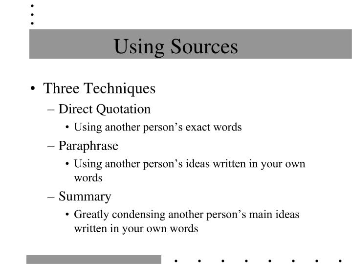 using sources n.