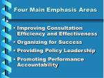four main emphasis areas