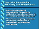 improving consultation efficiency and effectiveness