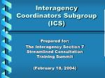 interagency coordinators subgroup ics