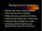 background of restrictions
