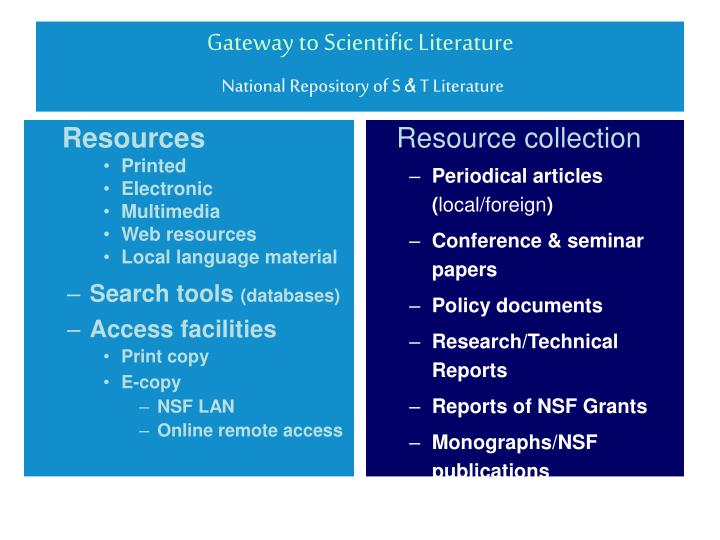 Gateway to scientific literature national repository of s t literature