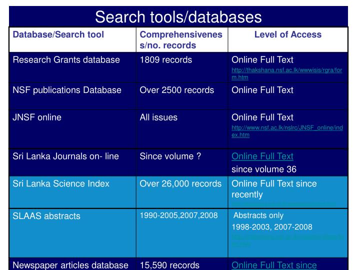 Search tools/databases