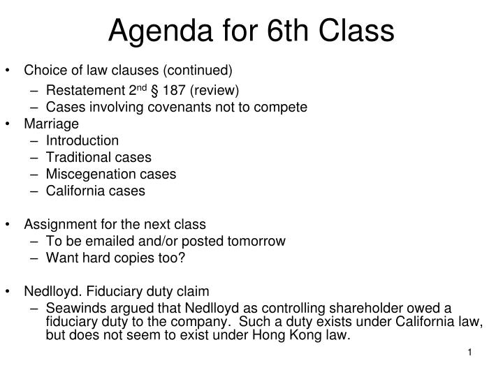 agenda for 6th class n.