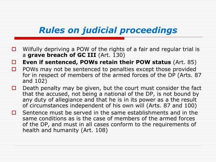 Rules on judicial proceedings