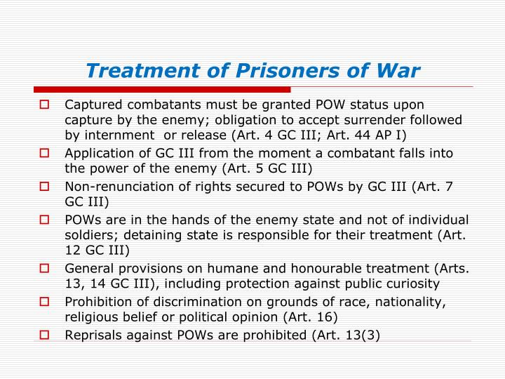 Treatment of Prisoners of War