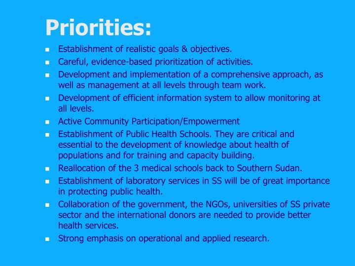 Priorities: