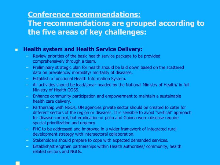 Conference recommendations:
