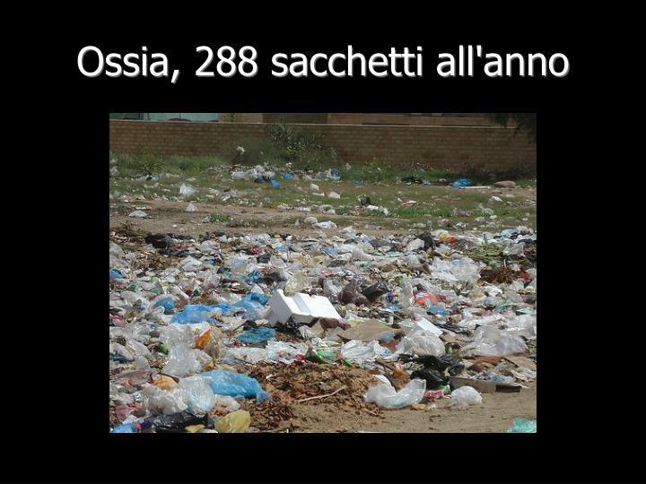 Ossia, 288 sacchetti all'anno