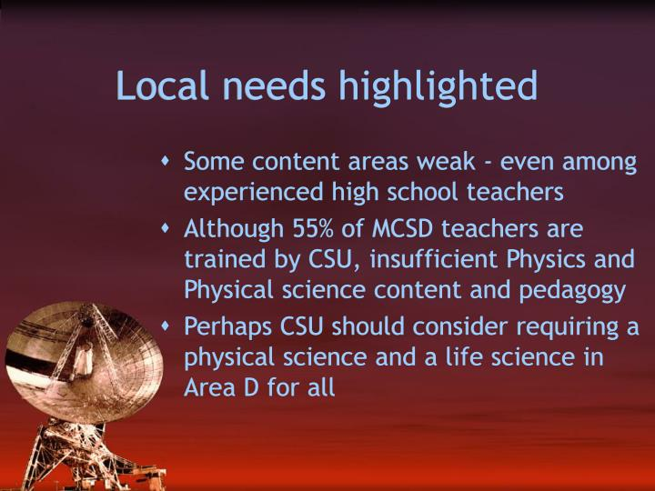 Local needs highlighted