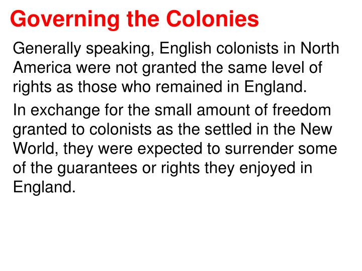 governing the colonies