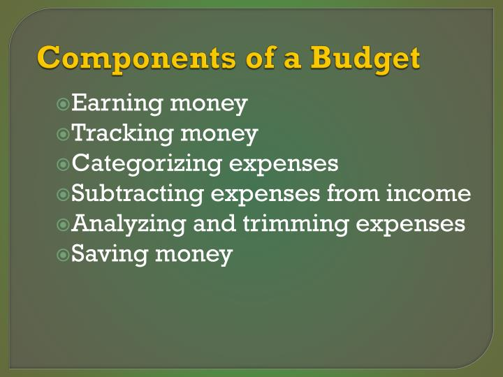 Components of a Budget
