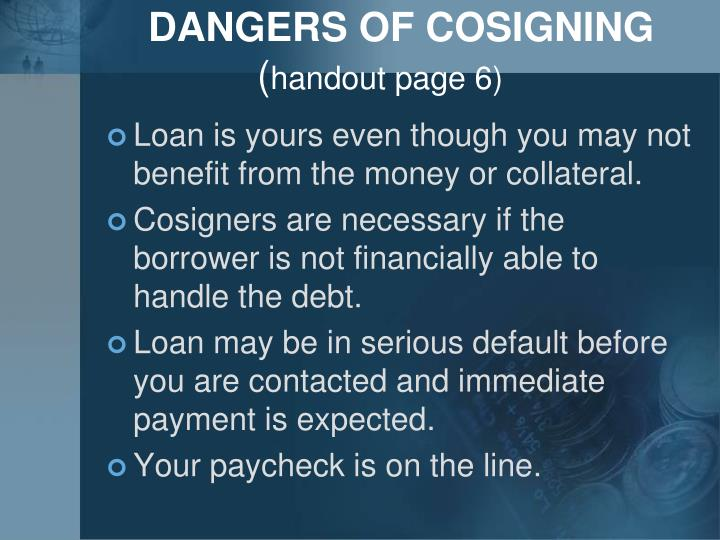 DANGERS OF COSIGNING