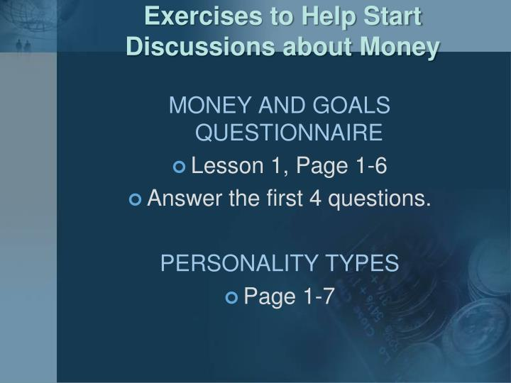 Exercises to Help Start Discussions about Money