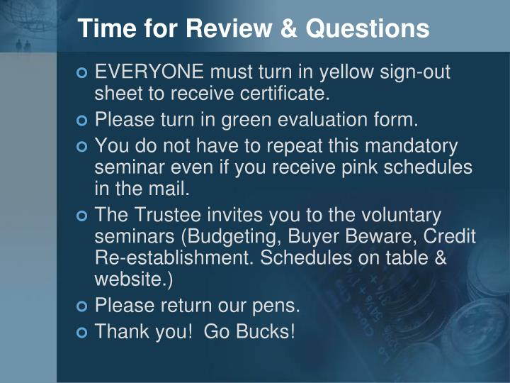 Time for Review & Questions