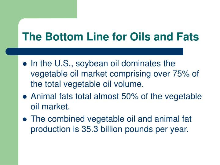 The Bottom Line for Oils and Fats
