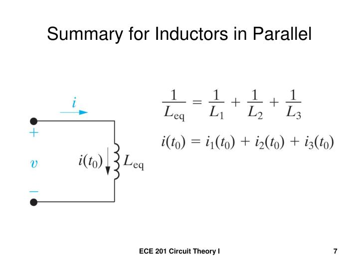 Summary for Inductors in Parallel